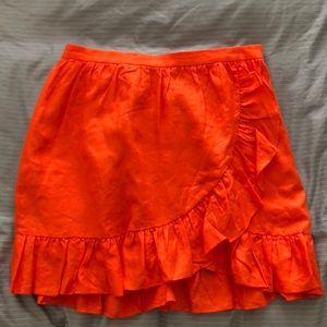 JCrew Orange Linen Ruffle Skirt
